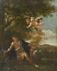 Continental School, 18th Century Style  Cupid Points His Arrow