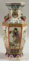 Modern Asian Enamel-decorated Porcelain Paneled Baluster-form Vase