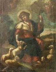 Continental School, 18th Century Style  Christ as the Good Shepherd