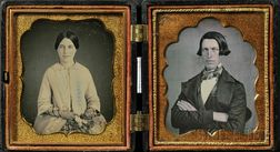 Two Sixth Plate Daguerreotype Wedding Portraits of a Young Man and Woman