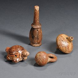 Four Pre-Columbian Pottery Musical Instruments
