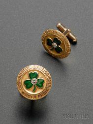 Pair of 1963 World Champion Boston Celtics 10kt Gold, Diamond, and Enameled   Cuff Links