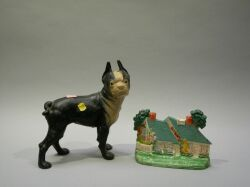 Painted Cast Iron Boston Terrier and Cottage Doorstops.