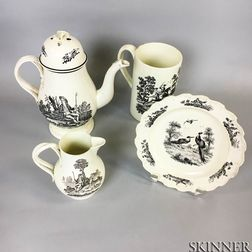 Four Transfer-decorated Creamware Items