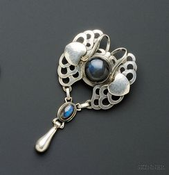 Silver and Labradorite Pendant/Brooch, Georg Jensen
