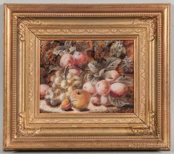 Oliver Clare (British, 1853-1927)      Still Life with Peaches and Grapes