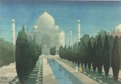 Charles W. Bartlett (British, 1860-1940)  Lot of Three Views of India:  Taj Mahal Sunset,   Prayers at Sunset