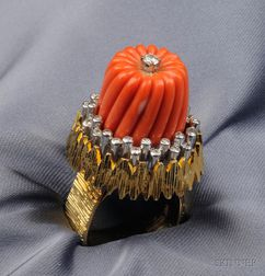 18kt Gold, Coral, and Diamond Ring