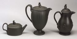 Three Wedgwood Black Basalt Engine Turned Items