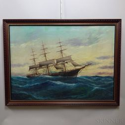 Louis Papaluca (Italian, 20th Century)    Portrait of a Sailing Vessel