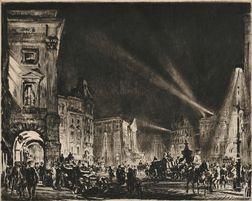 Muirhead Bone (British, 1876-1953)      Piccadilly Circus