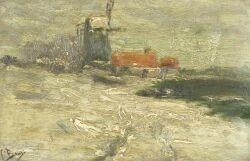 Frans Binje (Belgian, 1835-1900)  The Windmill
