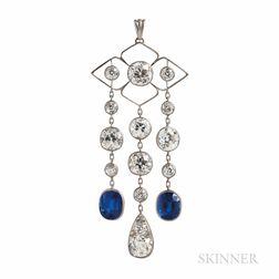 Art Deco Platinum, Sapphire, and Diamond Pendant