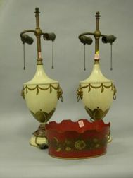 Pair of Tole Urn Table Lamps and a Planter.