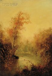 School of John Frederick Kensett (American, 1816-1872)      Untitled [Woodland River Landscape in Autumn].