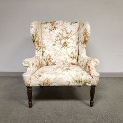Federal Carved and Upholstered Mahogany Wing Chair