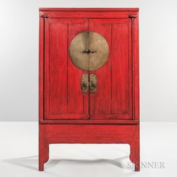 Red-Painted and Engraved Brass-mounted Cabinet