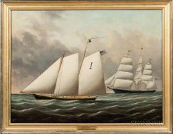 Joseph B. Smith and William S. Smith (American, 19th Century)      Schooner Thomas S. Negus off New York and Pilot Boat