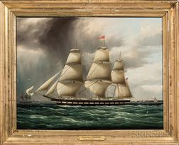 James Edward Buttersworth (New Jersey/New York, 1817-1894)      Packet Ship Kennebec in New York Harbor