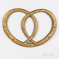 Gold-painted Cast Iron Pretzel Trade Sign