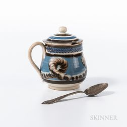 Cable and Slip-decorated Mustard Pot