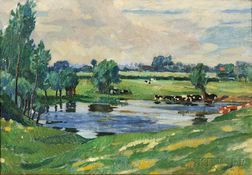 Charles Reiffel (American, 1862-1942)    Pasture with Cattle Wading