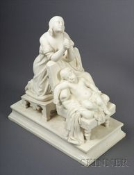 Minton Parian Figure Group of Maternal Devotion