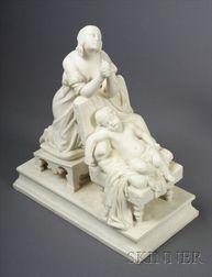 Minton Parian Figure Group of Maternal Devotion