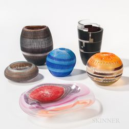 Six Youko and Takeshi Sano Modern Art Glass Sculptures