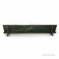 Blue-painted Pine Hanging Shelf with Ten Wrought Iron Coat Hooks