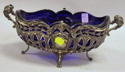 Continental Silver Plated Cobalt Glass Lined Center Bowl.