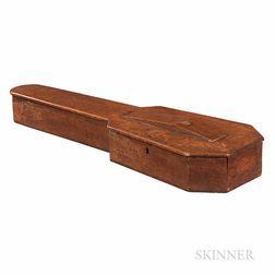 American Oak Coffin Violin Case, c. 1850