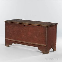Early Red-painted Chestnut Six-board Chest