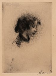 Albert Besnard (French, 1849-1934)      Profile of a Young Woman