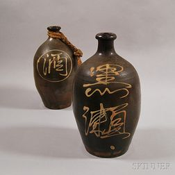 Two Japanese Bizen Ware Sake Bottles