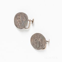 Pair of Byzantine Coin Earrings.     Estimate $20-200