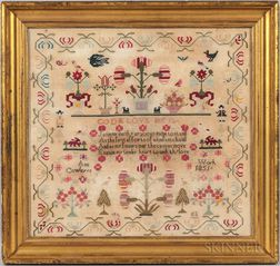 Large Framed Needlework Sampler
