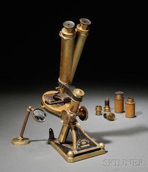 R. & J. Beck Brass Binocular Microscope