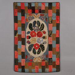 Wool Floral Hooked Rug