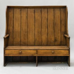 Country Pine Two-drawer Settle Bench