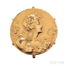 Art Nouveau Gold Brooch