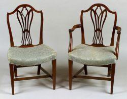 Set of Six George III Style Inlaid Mahogany Dining Chairs