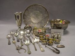 Sterling Silver Trumpet Vase, Bowl, Porringer, Sixteen Small Shakers and Salts, a Reticulated Tray, Seventeen Sterling and Thirteen Sil