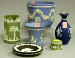 Seven Assorted Wedgwood Jasper Table Items