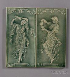 Two Figural Tiles: Possibly Pilkington Tileworks