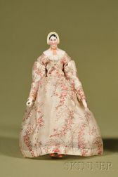 Rare Molded Bonnet China Lady with Wood Body