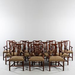 Set of Twelve Georgian-style Upholstered Mahogany Dining Chairs.     Estimate $600-800