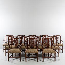 Set of Twelve Georgian-style Upholstered Mahogany Dining Chairs.     Estimate $600-800