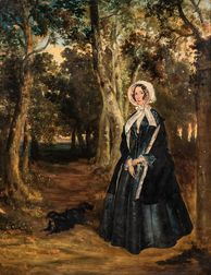 Anson A. Martin (British, active 1840-1861)      Two Works:  Standing Portraits of Mr. George Penn and Mrs. Penn in Landscape Settings