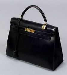 "Black Leather ""Kelly"" Handbag"